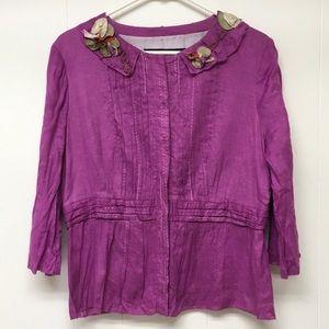 Elie Tahari Linen Jacket Gauze Purple Flower Trim